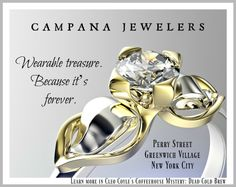 Ad for fictional Campana Jewelers in Dead Cold Brew by Cleo Coyle