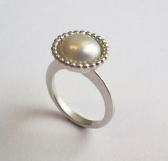 Silver ring with a freshwater pearl