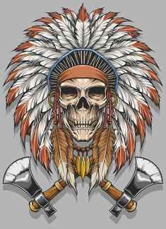 the second artwork of Indian Skull Native Art, Native American Art, Biomech Tattoo, Indian Skull Tattoos, Tatoo Art, American Tattoos, Desenho Tattoo, Skull And Bones, Grafik Design