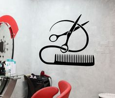 Barber Tools Wall Stickers Hairstyle Hair Stylist Salon Beauty Vinyl Decal (ig2387)