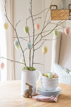 A Simple Hanging Egg Tree For Spring - Sincerely, Marie Designs Easter Tree, Easter Eggs, Egg Pictures, Egg Tree, Easter Table Settings, Easter Season, Diy Easter Decorations, Easter Colors, Idee Diy