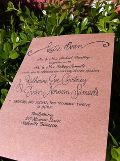 Calligraphy Wedding Invitations Kraft Paper Limited Supply