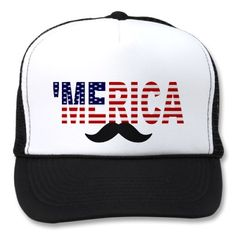 From the designer of the original, best-selling 'MERICA US Flag Hat, comes the much-anticipated Official MUSTACHE VERSION!!  Whether you are celebrating your love and patriotism for America, or spreading awareness for men's health, the new 'MERICA Mustache Trucker Hat is the best way to do it!  A perfect Christmas or holiday gift, and a classic hat for 4th of July cookouts too!