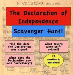 Declaration of Independence: A Scavenger Hunt! - Mr Educator - A Social Studies Professional - TeachersPayTeachers.com