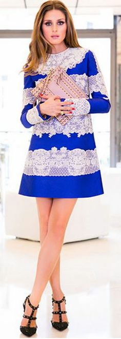 Who made  Olivia Palermo's blue and white stripe lace dress, black crystal pumps, and studded pink clutch handbag?