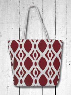 Ikat Patterned Canvas Tote - Maroon. Gig 'Em Aggies! We love this new all natural canvas tote - we have screened it in cute maroon ikat pattern, great on its own or with a monogram! USA Made with pocket inside. www.desden.com Just $14