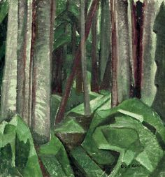 """wetreesinart: """" Emily Carr (Can. Untitled (forest scene), oil on canvas, x cm, Victoria, Royal BC Museum """" Canadian Painters, Canadian Artists, Totems, Emily Carr Paintings, Franklin Carmichael, Art Chinois, Cedar Posts, Most Famous Artists, Forest Painting"""
