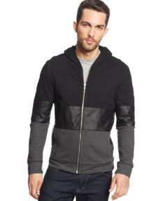 INC International Concepts Time Sandwich Zip-Front Hoodie