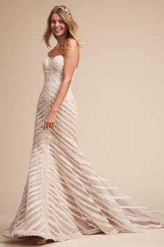 e668591c9ac Waverly Gown from  BHLDN   An overlay of ivory lace striations lend graphic  dimension to