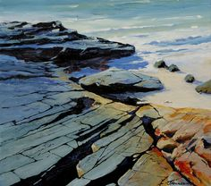 Arran Shores by Scottish contemporary landscape painter J Mackintosh Isle Of Arran, Contemporary Landscape, Garden Landscaping, How To Look Better, Art Paintings, Water, Rocks, Outdoor, Front Yard Landscaping