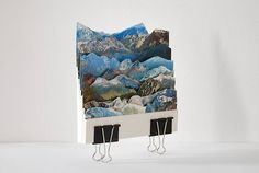 Artist Caterina Rossato creates multi-layered landscapes from old postcards, on which she represents landscapes of the world, overlapping different horizons. This relief gives the impression to see small dioramas where mountains are juxtaposed and where e