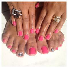 Gel polish manicure and pedicure with design.