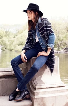 Madewell jean jacket worn with high riser Alley straight jeans + threadstripe scarf. #denimmadewell