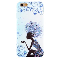 Coque Effet Tissu pour iPhone 6 Plus / 6s Plus Cheveux Fleuris