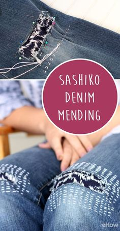 Very much on trend right now, sashiko denim mending is easy enough that even a beginner to sewing can do it! Follow simple instructions here: http://www.ehow.com/how_5176034_do-sashiko.html?utm_source=pinterest.com&utm_medium=referral&utm_content=freestyle&utm_campaign=fanpage