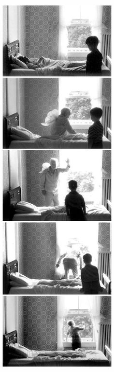Duane Michaels - The story being told here is a little boys grandpa dying and going to heaven. >photo sequence, B&W< Sequence Photography, Black And White Photography, Fine Art Photography, Photomontage, Duane Michals, Photo Sequence, Narrative Photography, Marianne Faithfull, Photo D Art