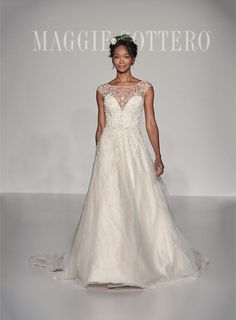 @maggiesottero NEW wedding dress collection.  Cap sleeve with swirled pearl embroidery. #maggiesottero #maggiebride