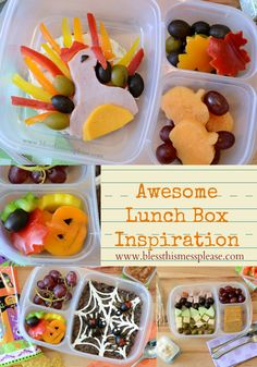 Awesome lunch box ideas from www.blessthismessplease.com | Halloween, Thanksgiving, and Fall themed lunch box ideas.