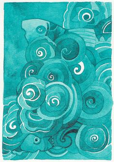 swirly aqua goodness by Megan Noel