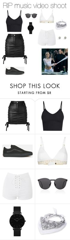 """""""rip"""" by vasilikiv ❤ liked on Polyvore featuring Versus, Vans, Versace, Topshop, Illesteva, CLUSE and Steve Madden"""