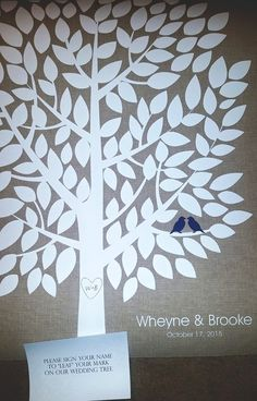 Burlap Wedding Tree | Guest Book Alternative | Rustic Wedding | Customer Photo | Wedding Color - Navy | peachwik.com