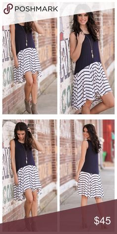 """🆕 PREORDER Navy Striped Tank Dress Navy Striped Tank Dress Perfect for spring and summer!  Can be dressed up or down with accessories.  65% cotton 35% polyester Bust: S-18.5"""", M-19.5"""", L-20.5"""" Length: S-35/38"""", M-36/39"""", L-37/40""""  ⭐️Bundle for Discounts⭐️ 🌺15% off 2+ Items! 🌺 Dresses"""