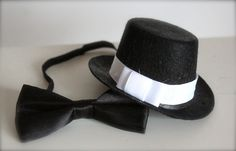 Mini Fedora Top Hat and little Black Bow Tie Set - Perfect Newborn Baby Boy Photography Prop. $18.95, via Etsy.