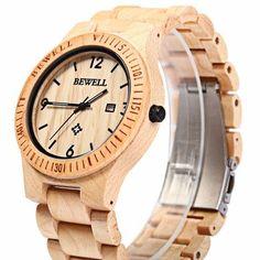 BEWELL ZS-W086B Men Natural Wooden Auto Calendar Display Fashion Quartz Wrist Watch at Banggood