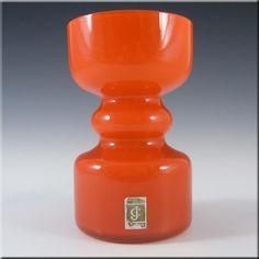Lindshammar / JC 1970's Swedish Orange Hooped Glass Vase - £80.00