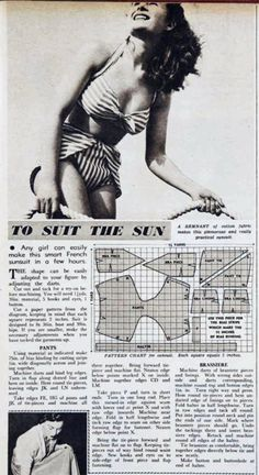 Pattern to sew your own 1950 French two-piece swimsuit!