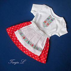 Tanja.L / detský ľudový odev - kroj bejby na 1 mesiac až 2 roky Folk, Rompers, Sewing, Dresses, Fashion, Vestidos, Moda, Dressmaking, Popular