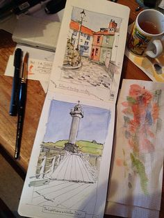 Travel / sketchbook / art journal - whitby 2 page spread by john harrison, Moleskine Sketchbook, Travel Sketchbook, Watercolor Sketchbook, Artist Sketchbook, Illustrations, Illustration Art, Art Sketches, Art Drawings, Sketchbook Inspiration