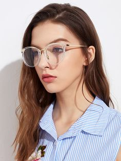 42aac3cbb2a Metal Frame Clear Lens Glasses -SheIn(Sheinside) Costa Sunglasses