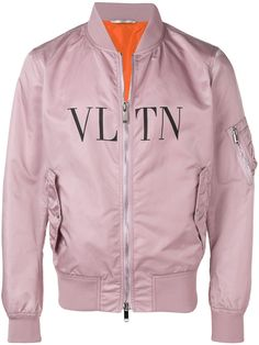 Valentino Vltn Diagonal Nylon Bomber In Pink Teen Fashion Outfits, Cool Outfits, Mens Fashion, Designer Jackets For Men, Mens Outdoor Jackets, Pink Bomber Jacket, Valentino Men, Casual Suit, Women Wear