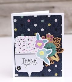 Denim Blues Collection from We R Memory Keepers - Scrapbook.com - Pretty denim background on this thank you card.