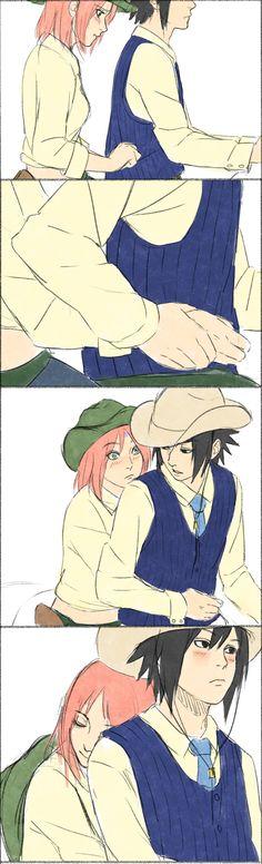 Western AU Sasusaku [by steampunkskulls on deviantART]. Not a fan of this AU, but Sakura is drawn so well here.