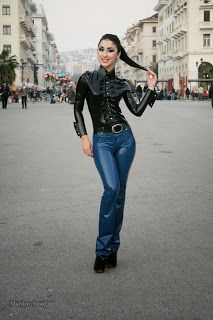 Marilyn Yusuf's Passion for Latex: Marilyn Wearing Latex Jeans in Greece Latex Pants, Fashion Models, Fashion Outfits, Disco Pants, Fetish Fashion, Latex Girls, Skin Tight, Bell Bottom Jeans, Leggings Are Not Pants