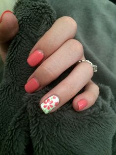 Spring nail art pink flowers gel nails gelish early morning opi