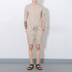 Feeding Sporting Summer Fashion Men Causal Hip-hop Short Sleeve Shirt Printed Cotton Casual Sports Jumpsuit Mens Rompers Boyfriend Party Overalls