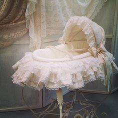 Lovely Moses basket, all in cream