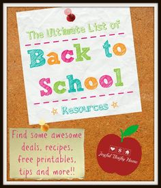 Check out this list of back to school resources. Includes great deals, recipes, free printables, tips and more! - Joyful Thrifty Home