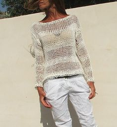 white sweater White cotton mix loose knit stripe sweater summer sweater, pullover White cotton mix summer sweater by ileaiye on Etsy White Knit Sweater, Loose Knit Sweaters, Summer Sweaters, Slouchy Sweater, Hand Knitted Sweaters, Shrug Sweater, White Sweaters, Cotton Sweater, Summer Cardigan