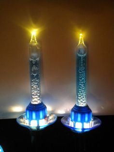 2 vintage christmas paramount blue oil in tube bubble lights blue saucer works