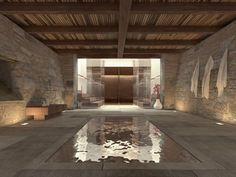 grande piscine enterrée, revêtement de sol e pierre naturelle et plafond en bois massif