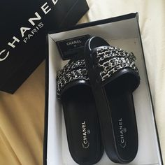 Chanel Chain Slides Brand new inspired Chanel chain slides. Lining Material: Sheepskin Upper material: Sheepskin Color classification: pink black / silver chain; green and black / gold chain; black and white / gold chain; full leather white / gold chain; black / silver chain; full leather black / silver chain Size: 34-41 Open to offers. *Listings are not sold via posh. Please visit @luxelavish for more items, details, and purchasing. Thank you!* Shoes Sandals