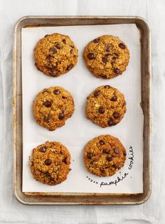 Pumpkin Oatmeal Chocolate Chip Cookies - These are vegan, gluten free, nut free and the perfect fall lunch box snack!