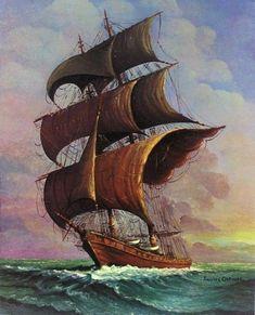 Andres Orpinas Painting Spanish Caravelle 16 x 20 Signed Print Sailboat Art, Nautical Art, Sailboats, Old Sailing Ships, Ship Paintings, Sea Art, Sea And Ocean, Tall Ships, Painting & Drawing