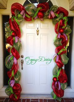 Christmas garland door swag cheistmas deco by OOPSYDAISYDESIGNS