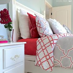 New bedding are what sweet dreams are made of! #HomeGoodsHappy | bedroom | red | via instagram