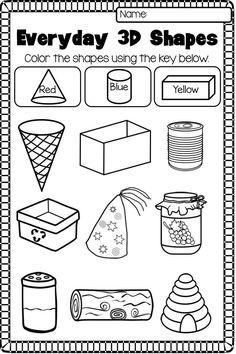 Solid Shapes Worksheets for Kindergarten. 20 solid Shapes Worksheets for Kindergarten. First Grade and Shapes Worksheets Distance Learning Shapes Worksheet Kindergarten, Shape Worksheets For Preschool, Preschool Printables, Printable Worksheets, Kindergarten Math, Free Printable, Preschool Math, 3d Shapes Worksheets, 3d Shapes Activities